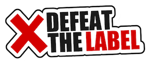 defeat the label logo